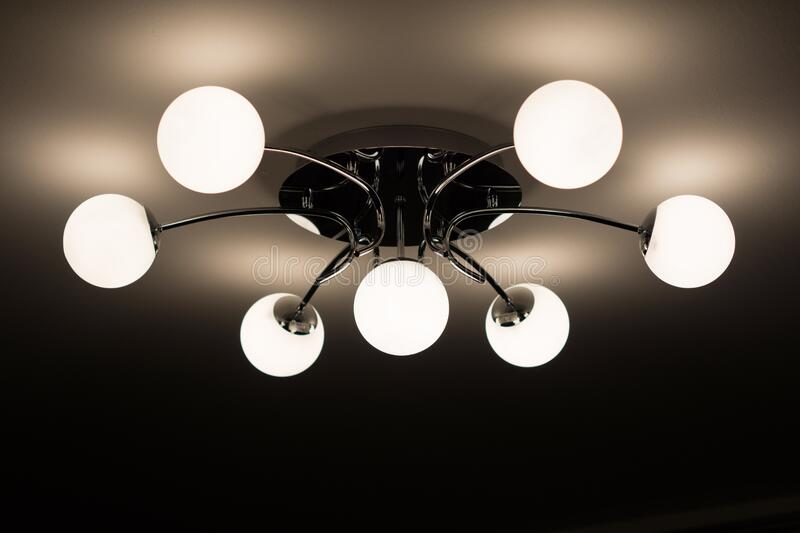 Silver Flush Mount Ceiling Light With Seven White Globe Lights Free Public Domain Cc0 Image