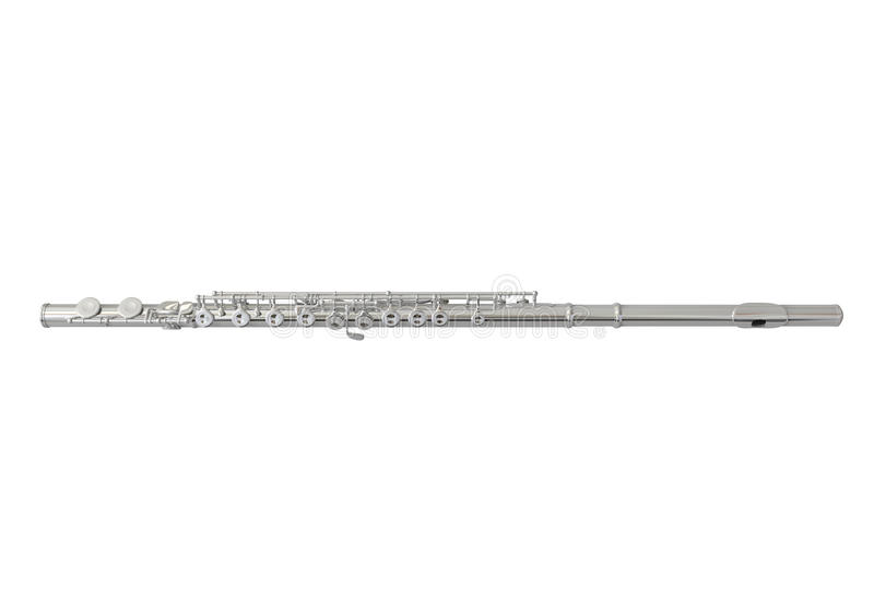 Silver Flute Isolated. On white background. 3D render stock illustration
