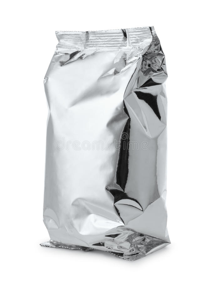 Silver foil food bag. Isolated on white royalty free stock photo