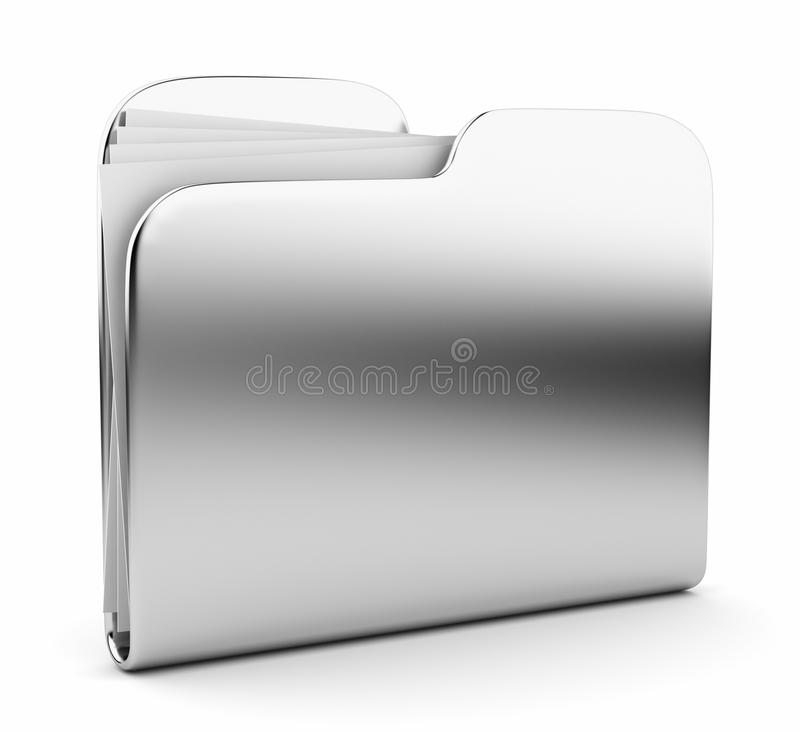 Silver folder. File 3D. Icon on white. Background royalty free illustration