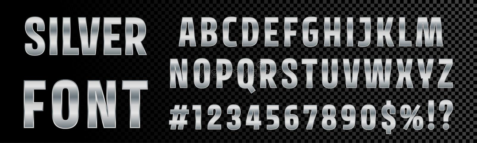 Silver font numbers and letters alphabet typography. Vector chrome metallic silver font type, 3d metal texture gradient vector illustration