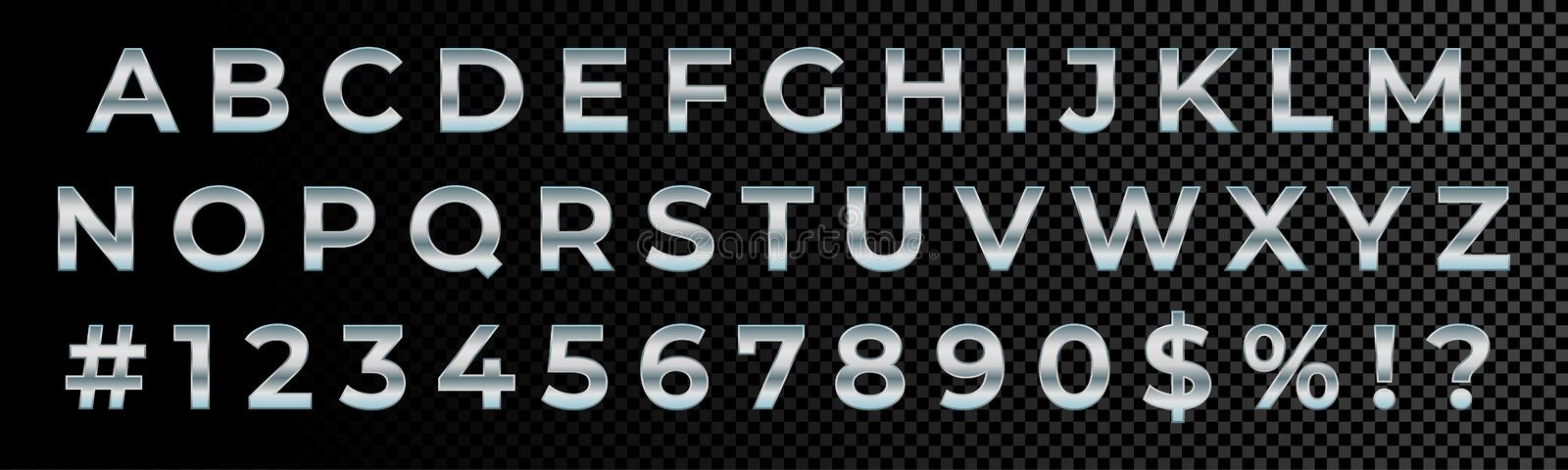 Silver font numbers and letters alphabet typography. Vector silver metallic font type, 3d metal chrome glossy. Effect royalty free illustration