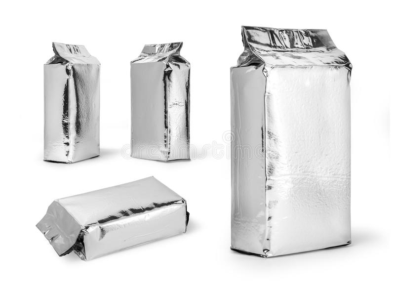 Silver food package. Isolated on white background royalty free stock photo