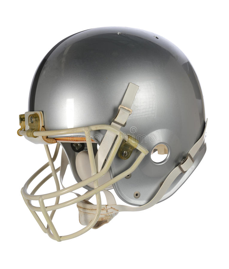 Silver Football Helmet. Isolated over white background - With clipping path royalty free stock photo