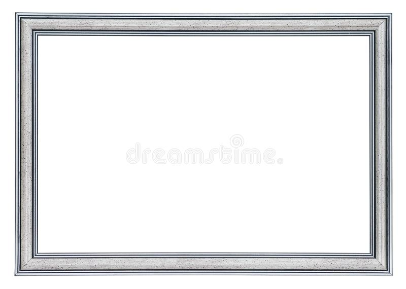 Silver frame with a black borders outside and inside, isolated royalty free stock photography
