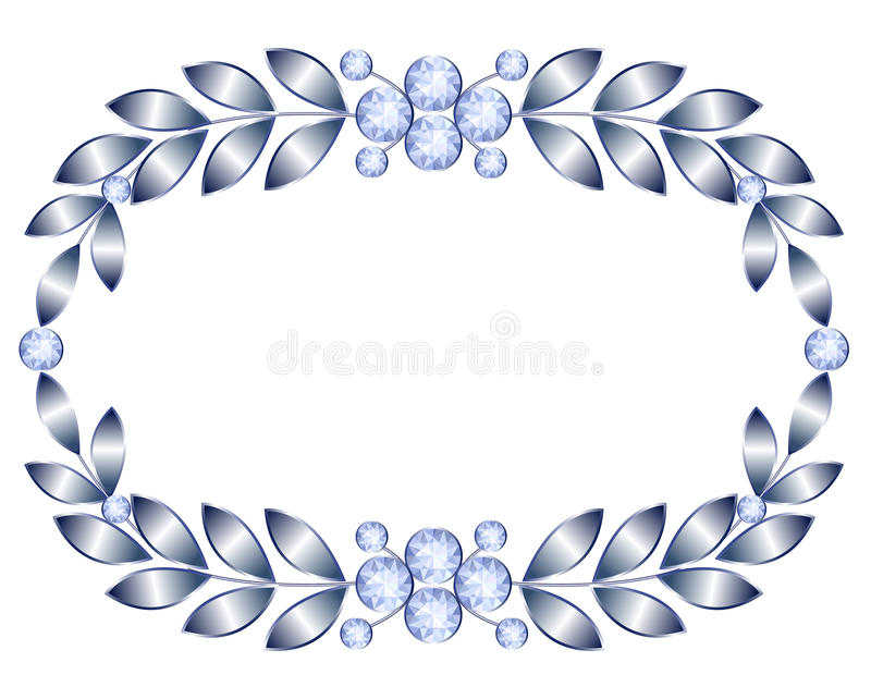 Silver frame. With brooch jewelry on white background vector illustration