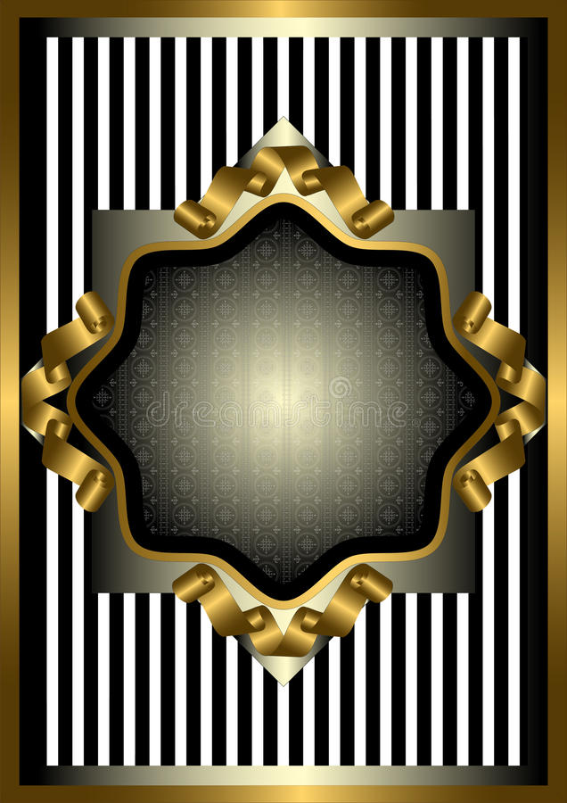 Download Silver Frame With Gold Decor On Striped Background Stock Vector