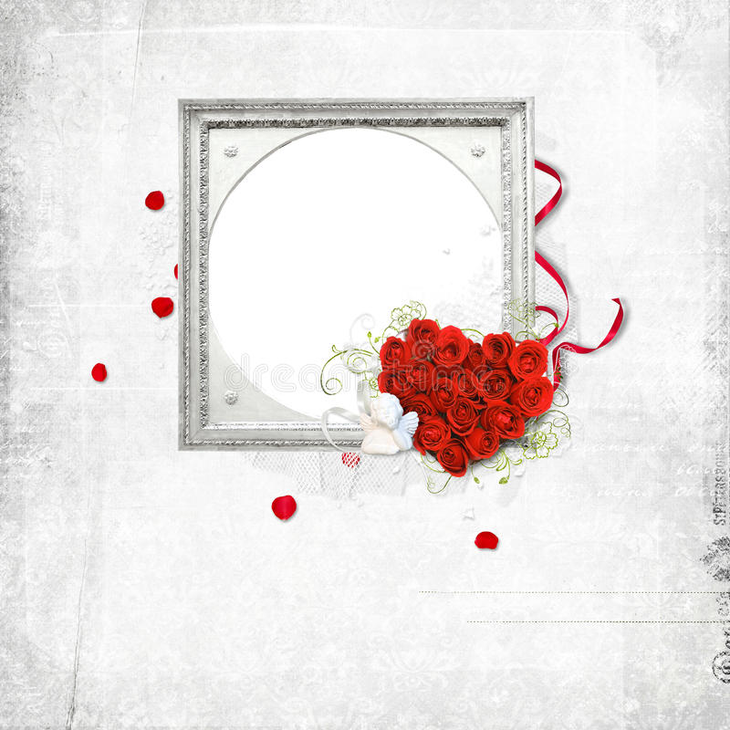 Silver frame with rose heart stock illustration