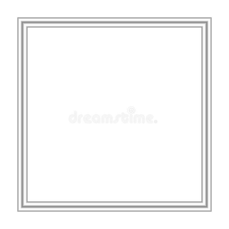 Silver frame square isolated on white background and copy space, blank stainless framework for banner ad, empty metallic picture. The silver frame square vector illustration