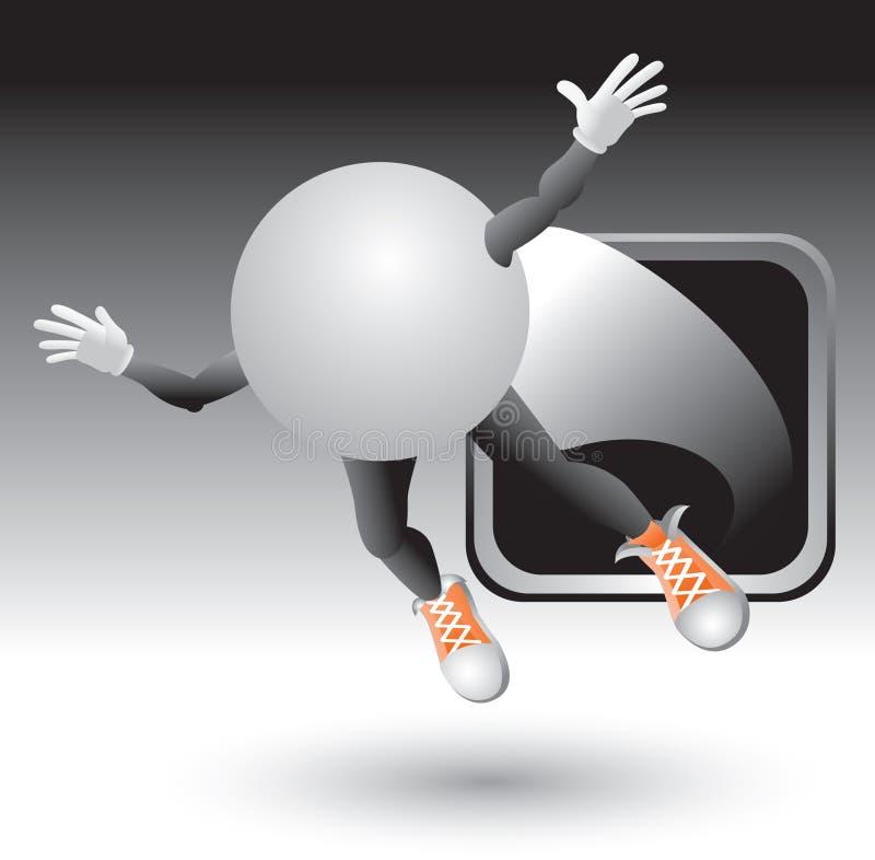 Silver Framed Ping Pong Cartoon Character Stock Photos