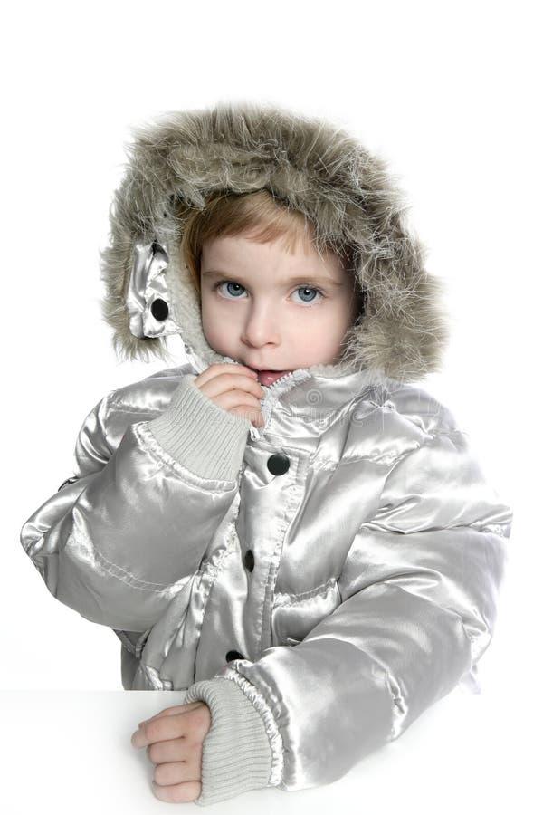 Silver fur hood winter coat little girl royalty free stock photography