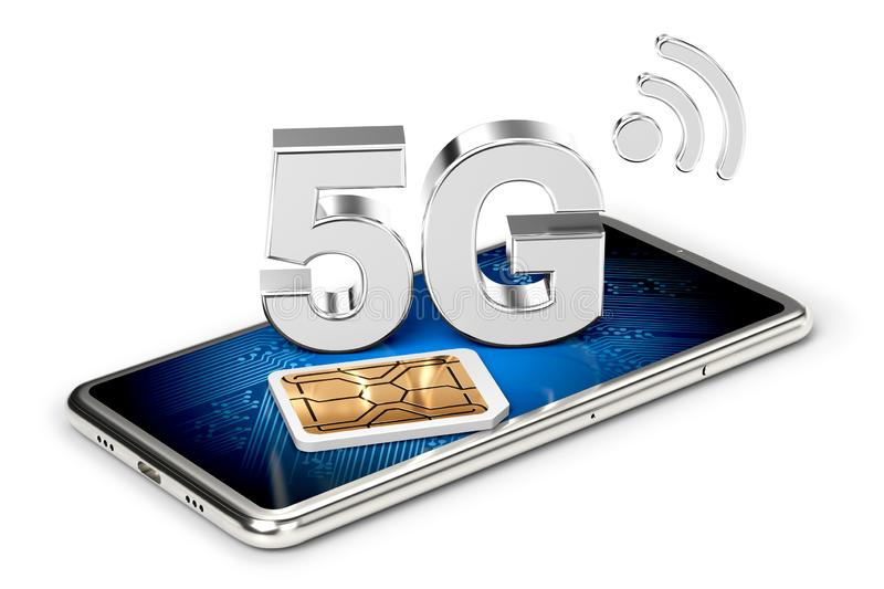 Silver 5G sign on smart phone screen with sim card next to it. Isolated on white background. High speed mobile web technology. 3D. Silver 5G sign on smart phone vector illustration