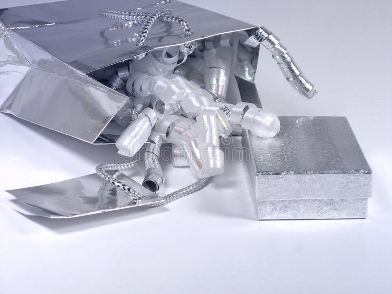 Silver gift royalty free stock photo