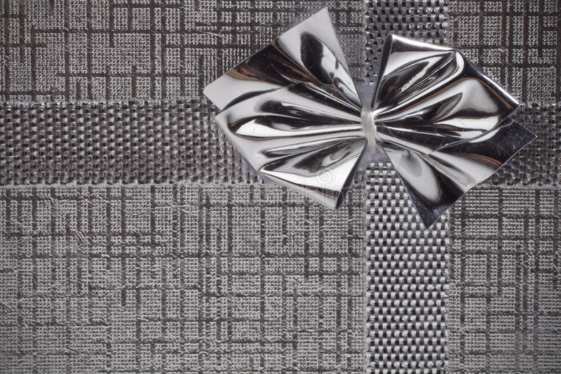 Silver gift as background stock photography