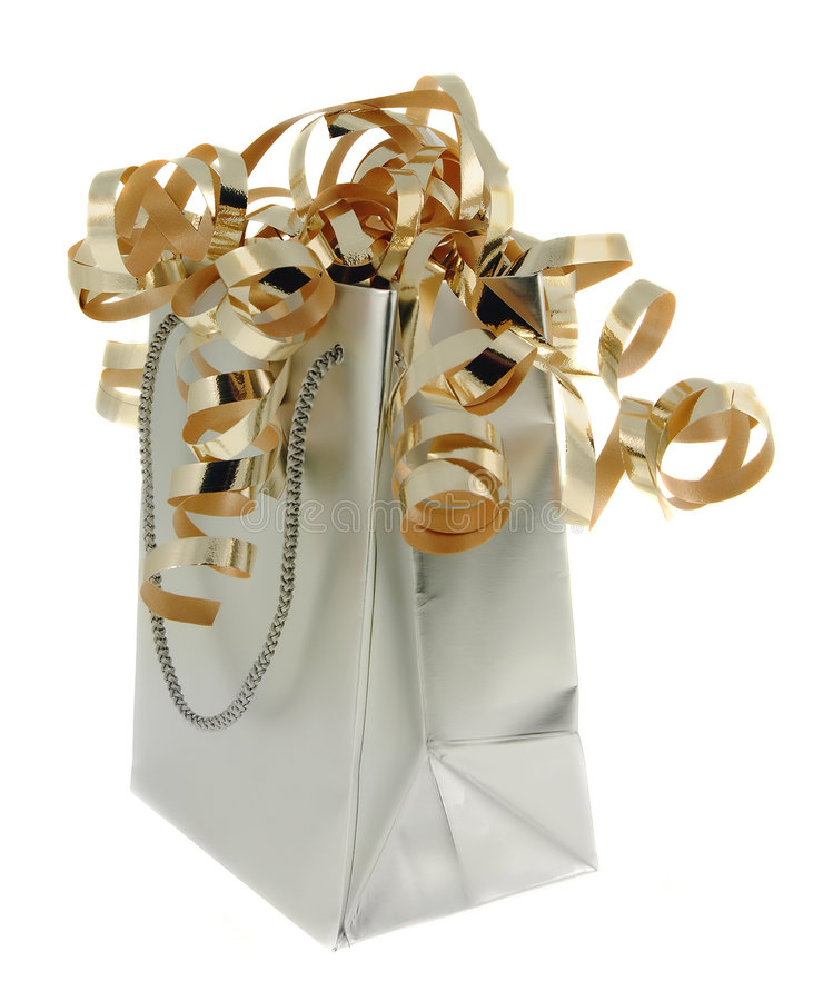 Silver Gift Bag With Gold Ribb stock images