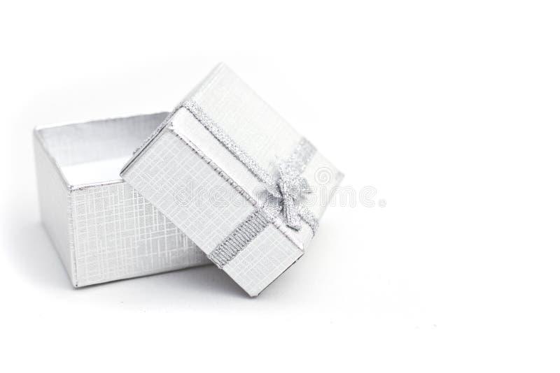 Silver gift-box stock photos