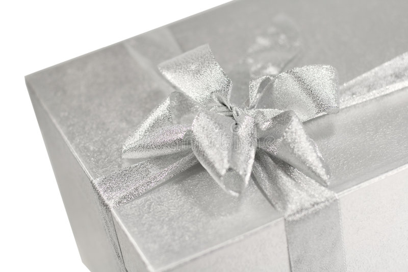 Download Silver gift box witn a bow stock photo. Image of birthday - 6839524