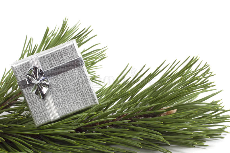 Silver gift on the scpuce stock photo