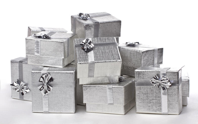 Silver gifts in a pile royalty free stock photo