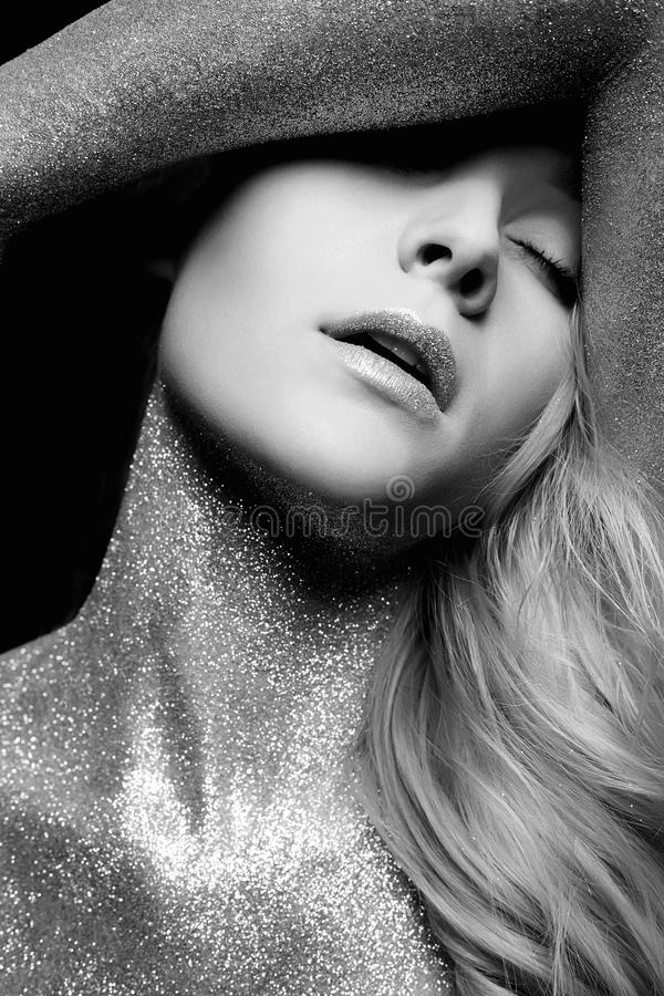 Silver Girl. Beautiful Woman with Sparkles royalty free stock image