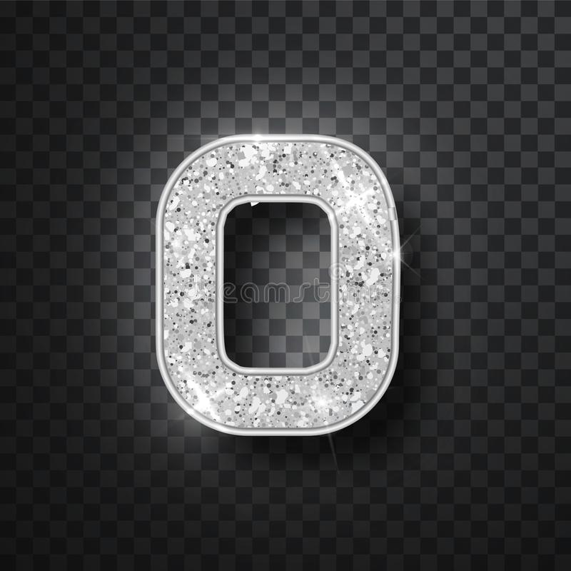 Silver glitter alphabet numbers 0 with shadow. Vector realistick shining silver font number zero of sparkles on black. Background. For decoration of cute vector illustration