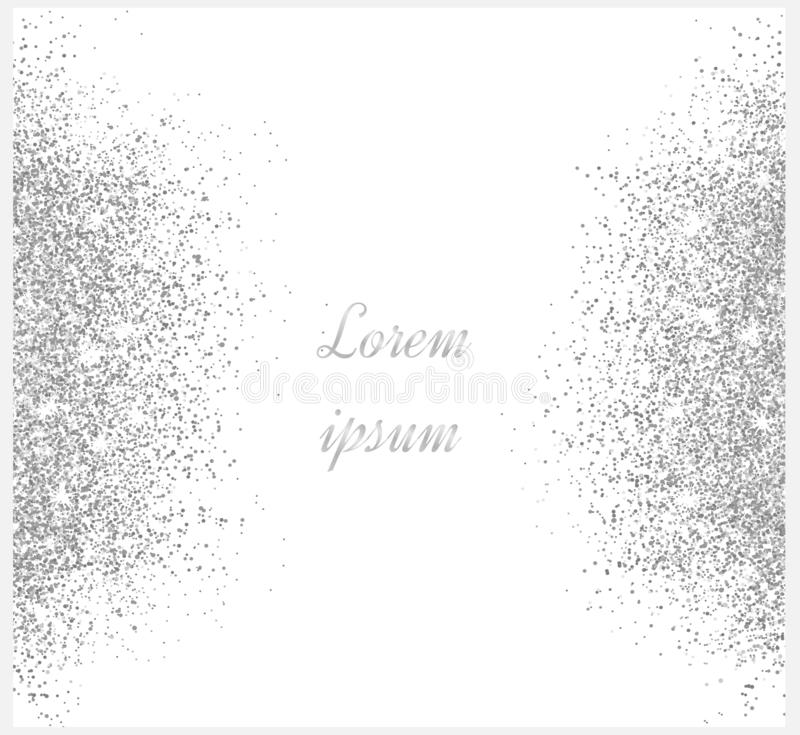 Silver glitter background. Silver sparkles on white background vector illustration