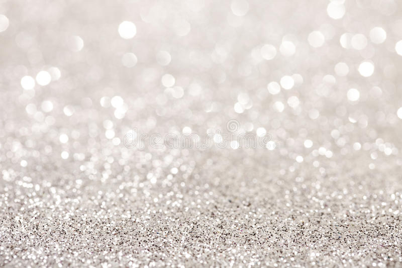Silver glitter bokeh background stock photography