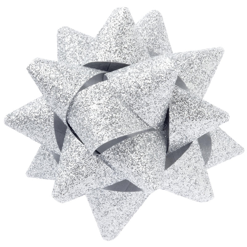 Silver Glitter Bow Royalty Free Stock Photography