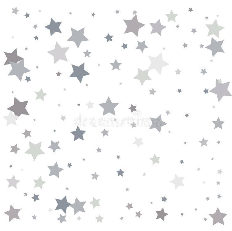 Silver glitter falling stars. Silver sparkle star on white background. Vector template for New year, Christmas, birthday, party,. Wedding, card, invitation royalty free illustration