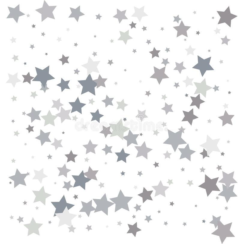 Silver glitter falling stars. Silver sparkle star on white background. Vector template for New year, Christmas, birthday, party,. Wedding, card, invitation stock illustration