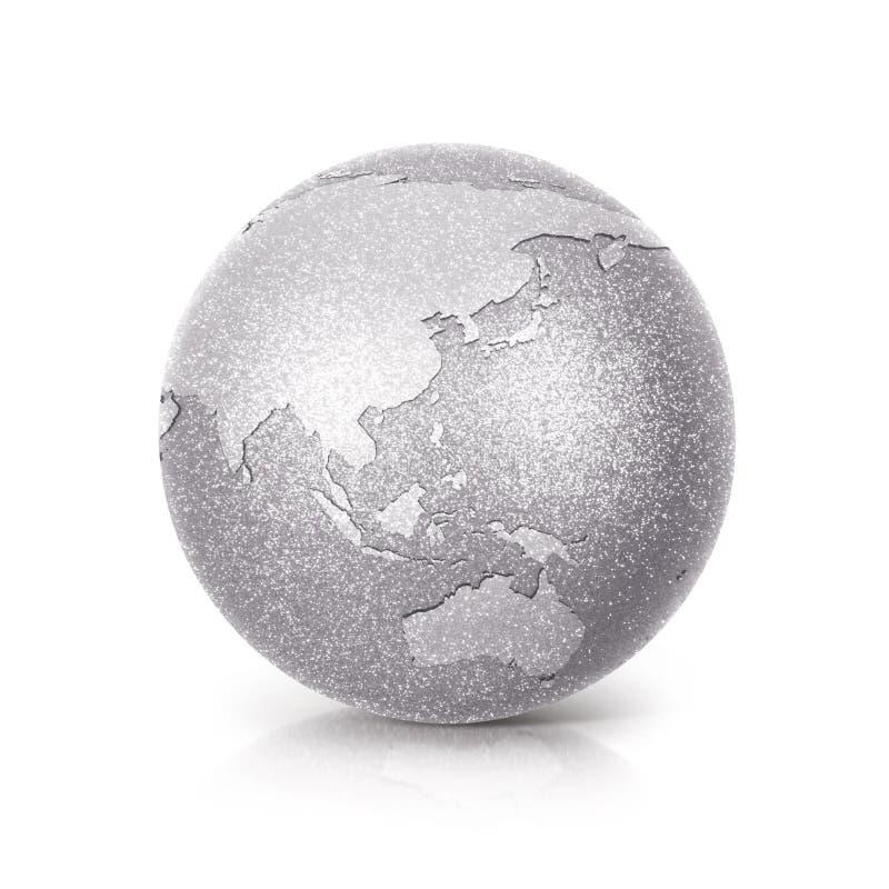 Silver Glitter globe 3D illustration Silver Asia & Australia map. On white background royalty free stock photography