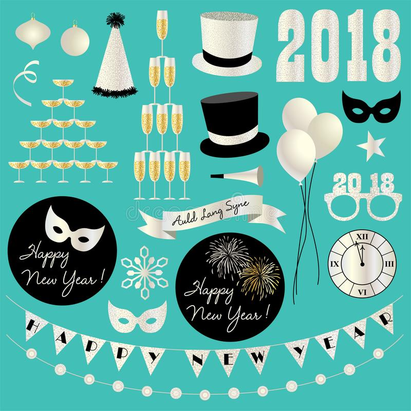 silver glitter new years eve 2018 clipart stock illustration