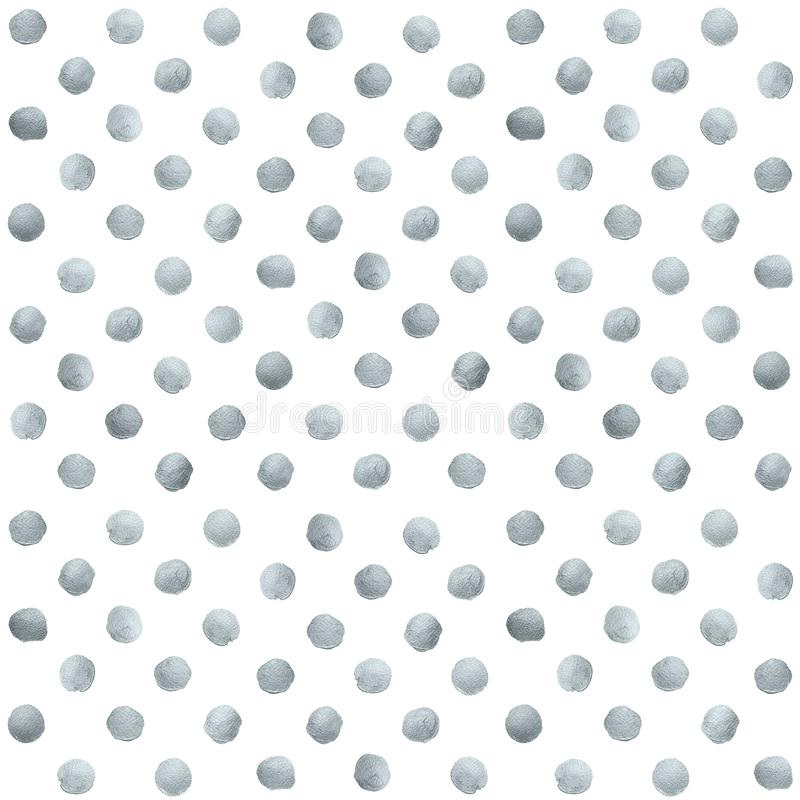 Silver glitter paint brush circle stains or dot pattern of stract dab smear smudge texture on white background. Glittering silver. Paint ink splash stain for vector illustration