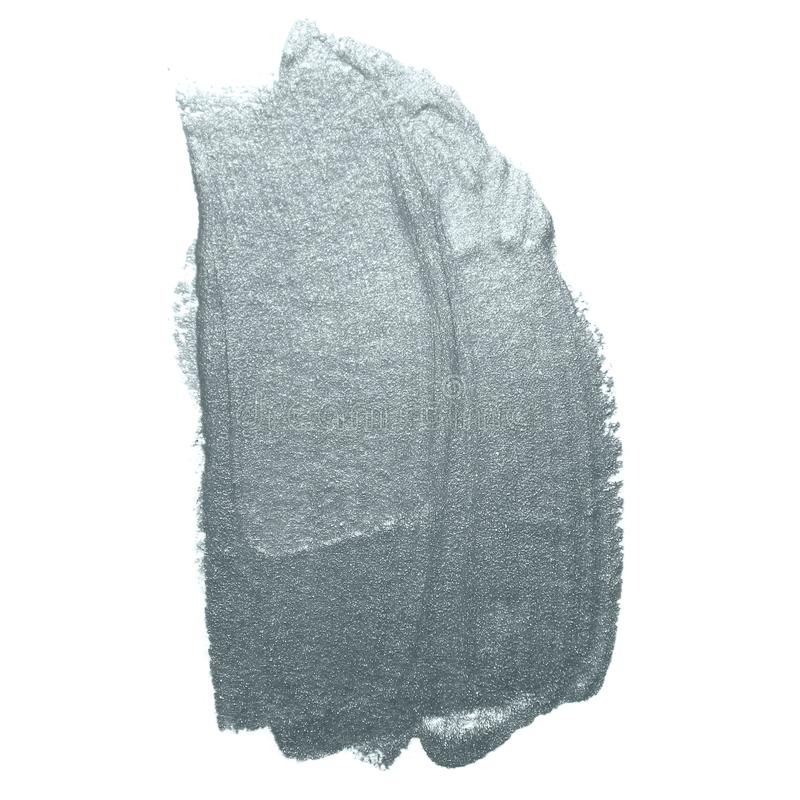 Silver glitter paint brush stroke or abstract dab smear with smudge texture on white background. Isolated glittering and sparkling. Silver paint ink paintbrush stock image