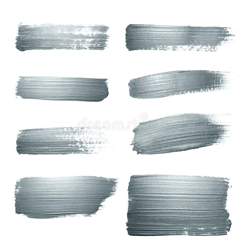 Silver glitter paint brush strokes set or abstract dab smears with smudge texture on white background for luxury greeting card des royalty free illustration