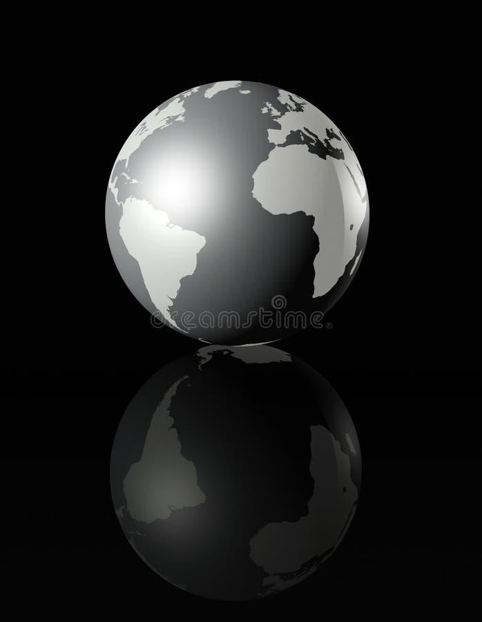 Silver glossy globe on black background royalty free illustration