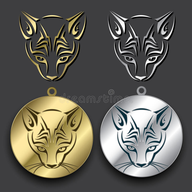 Silver and gold cat medallions vector illustration