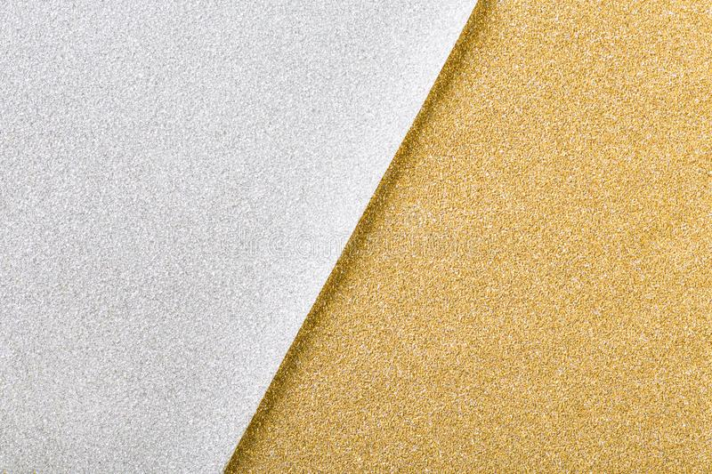 Silver and gold christmas glitter paper background stock image