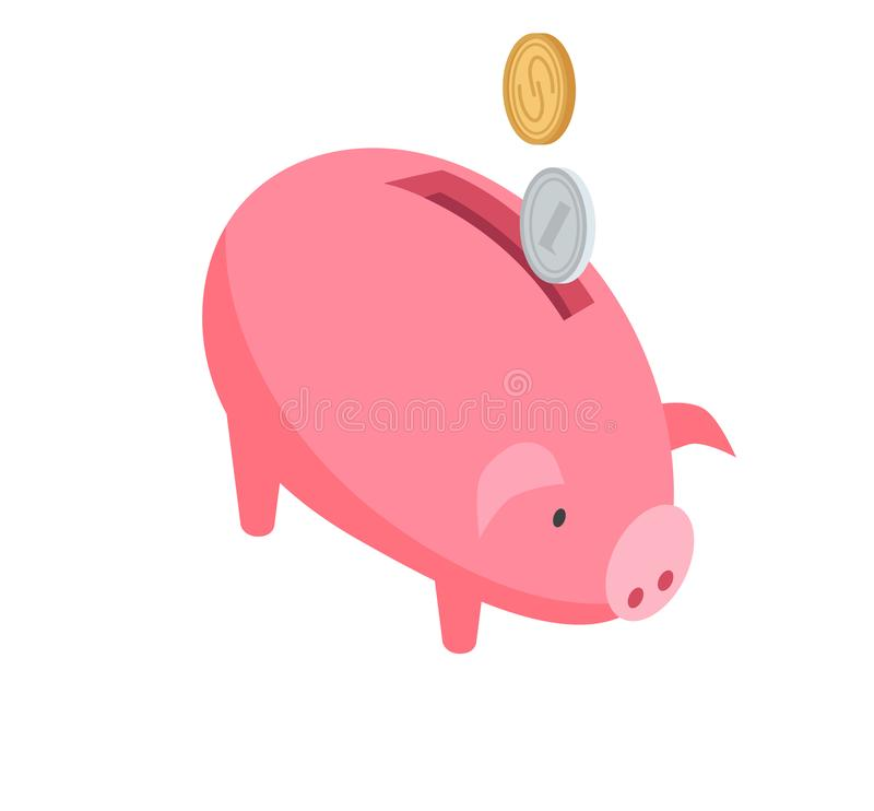 Silver and Gold Coins Falling into Pink Piggy Bank vector illustration