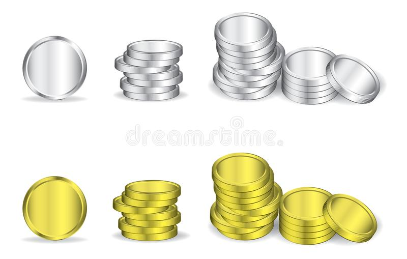 Silver and gold coins in white background stock illustration