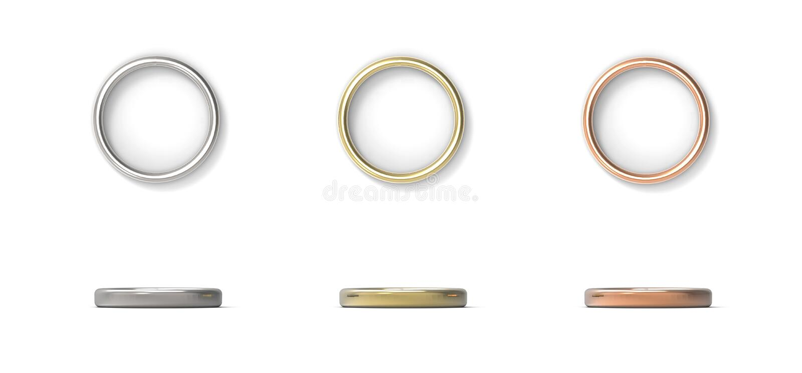 Silver, Gold, Copper rings isolated on white background. 3D rend. Silver, Gold, Copper rings isolated on white background royalty free stock photo