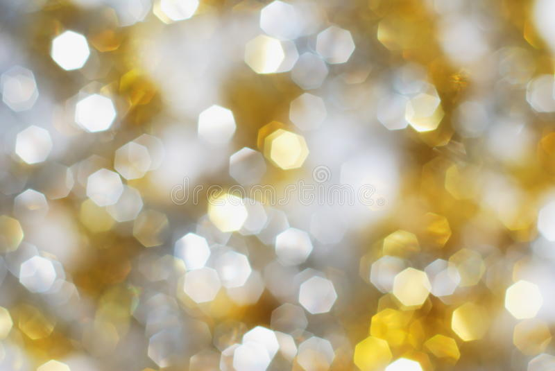 Silver and gold lights background. Silver and gold christmas lights background stock photos