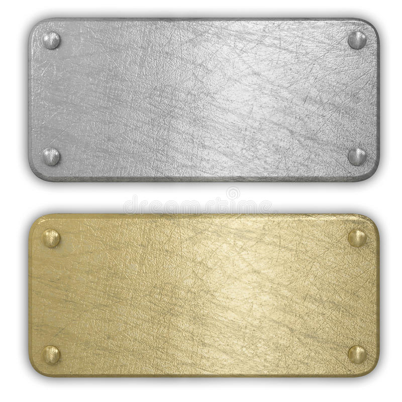 Silver and gold metal plates. Isolated royalty free illustration