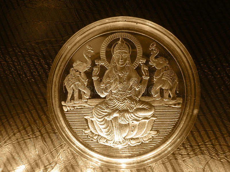Download Silver Gold Metal Vintage Coin With Hindu God Stock Photo - Image: 28044260