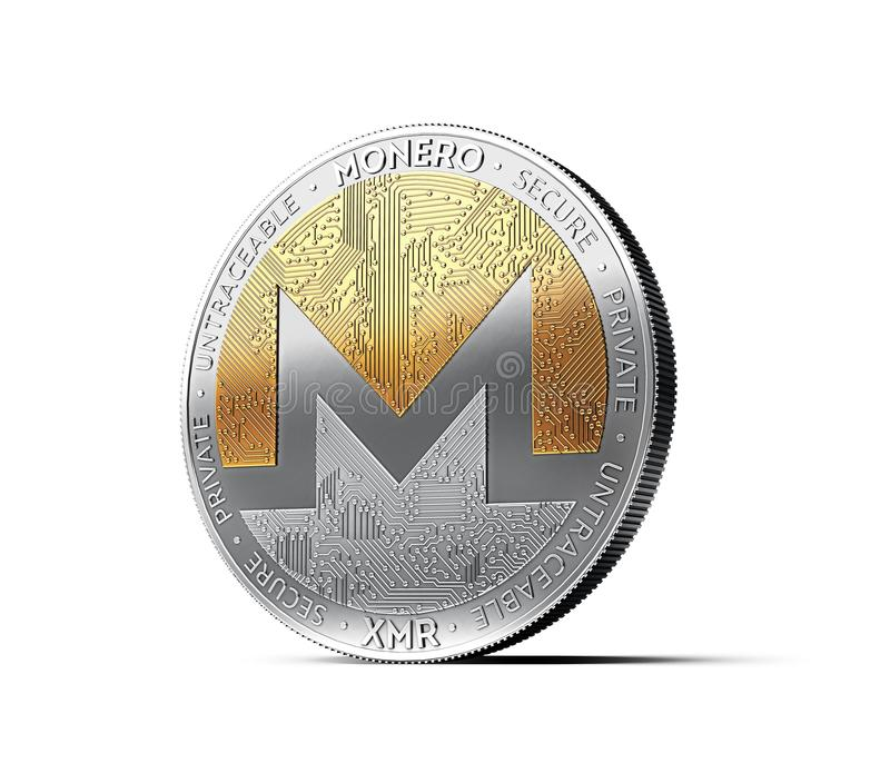 Silver and gold Monero coin isolated on white background. 3D rendering stock illustration