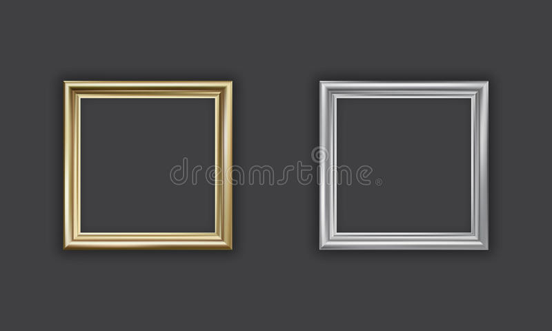 Silver and gold picture frame stock illustration