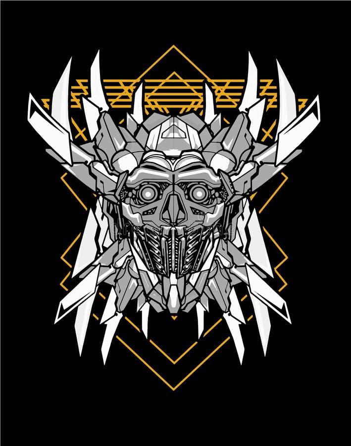 Free Silver Gold Samurai Robot Head Sacred Geometry Royalty Free Stock Photography - 163957727
