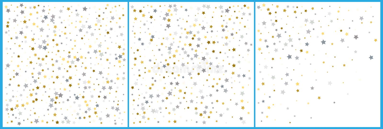 Silver and gold star confetti celebrations. Simple festive modern design. Holiday vector. Set 3 in 1.  royalty free illustration