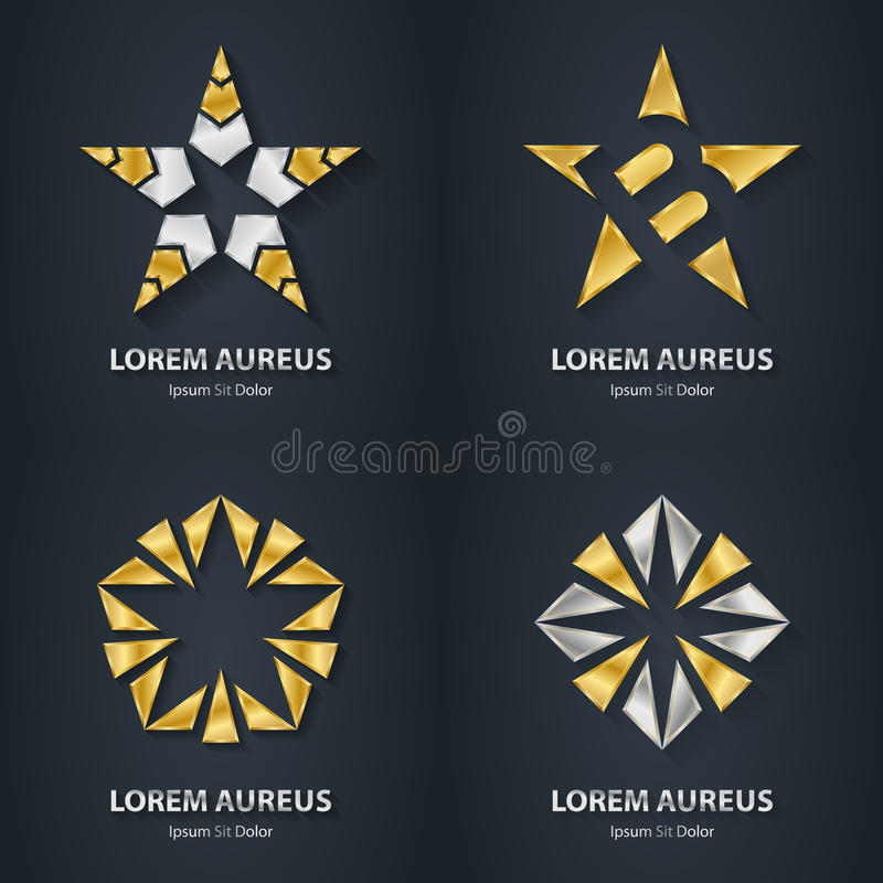 Silver and Gold star logo set. Award 3d icon. Metallic logotype. Template. Volume Vector illustration royalty free illustration