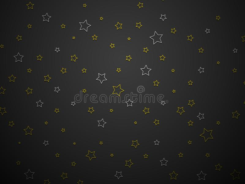 Silver and gold stars on black background. Modern style royalty free illustration